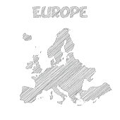 Europe map hand drawn on white background