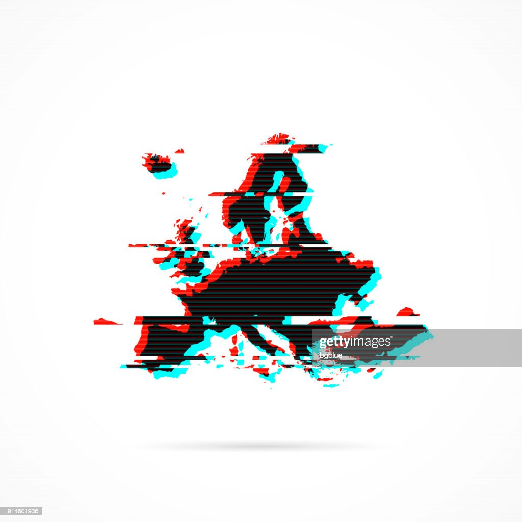 Europe Map In Distorted Glitch Style Modern Trendy Effect ...