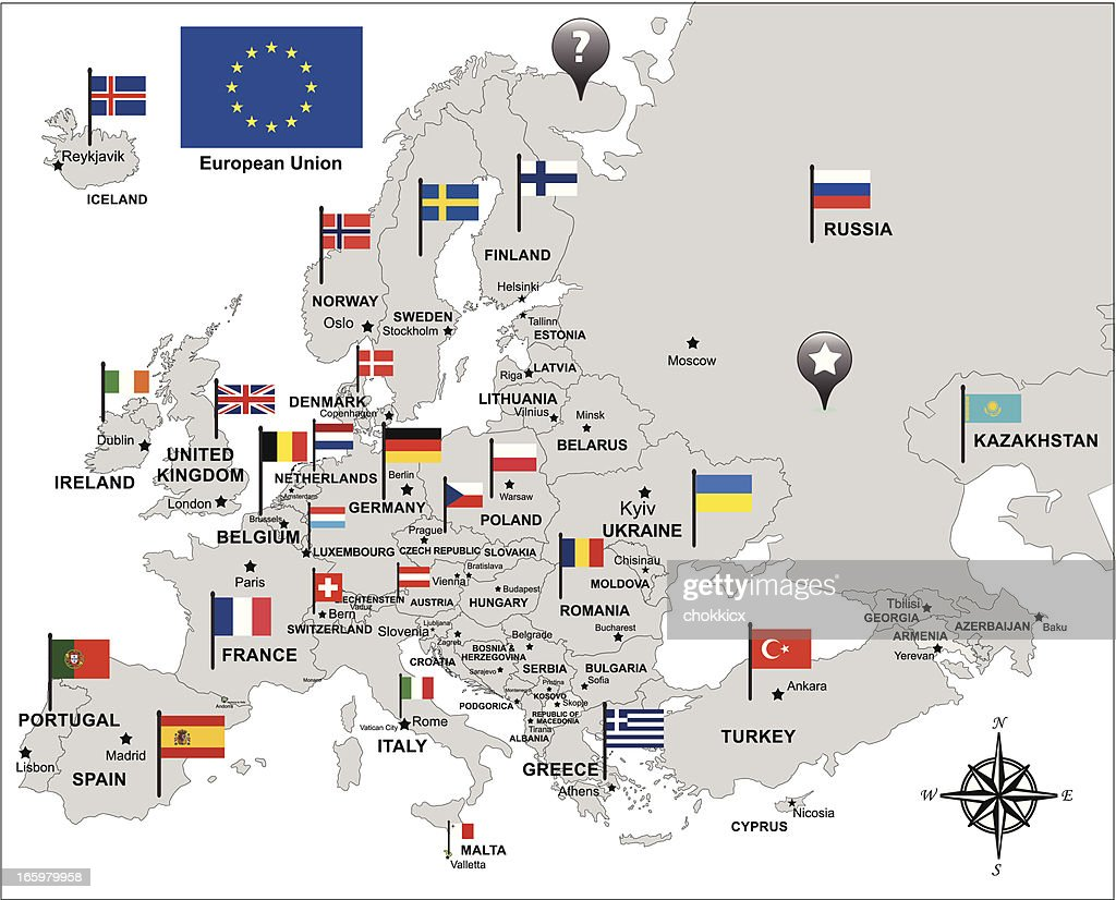 Free Maps And Flags Icons: Europe Map In Gray With Flags And Pin Icons Vector Art