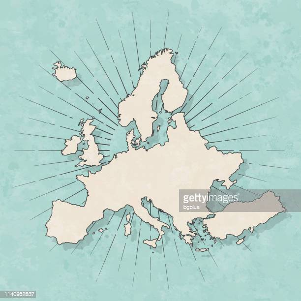 illustrazioni stock, clip art, cartoni animati e icone di tendenza di europe map in retro vintage style - old textured paper - europa continente