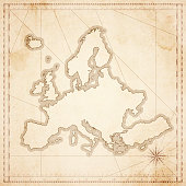 Europe map in retro vintage style - old textured paper