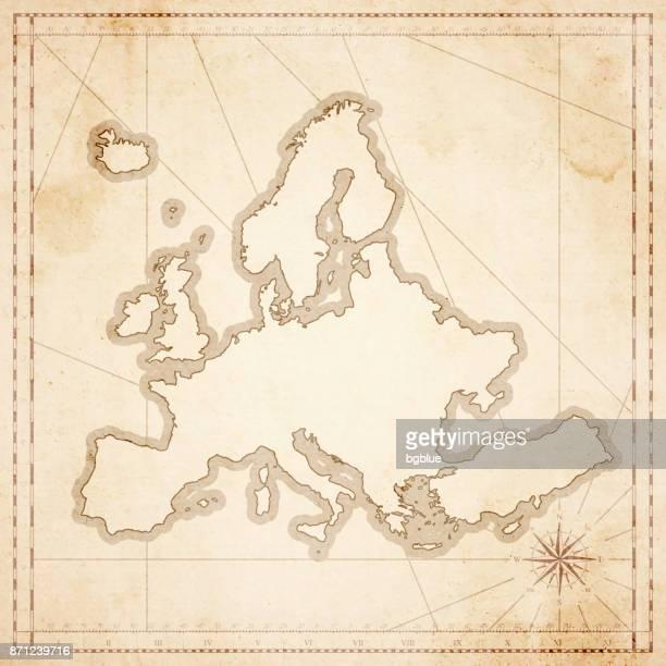 illustrazioni stock, clip art, cartoni animati e icone di tendenza di mappa europa in stile vintage retrò - vecchia carta testurta - obsoleto