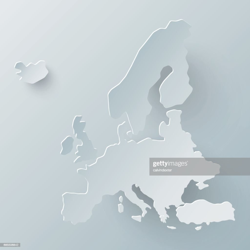 Europe map in white and shadow effect : stock illustration