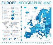 Europe Map - Info Graphic Vector Illustration