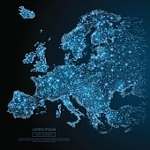 Europe map low poly blue