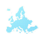 Europe map of blue dots on white background