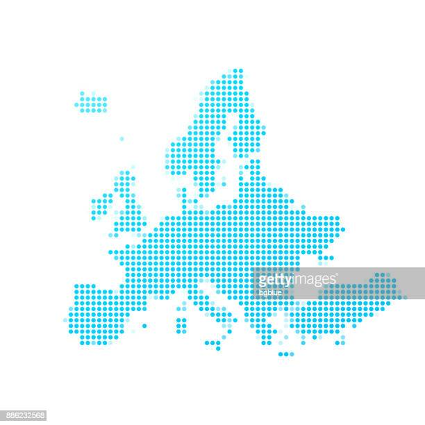 illustrazioni stock, clip art, cartoni animati e icone di tendenza di europe map of blue dots on white background - europa continente