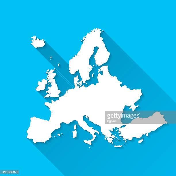 illustrazioni stock, clip art, cartoni animati e icone di tendenza di europa mappa su sfondo blu, lunga ombra, flat design - europe