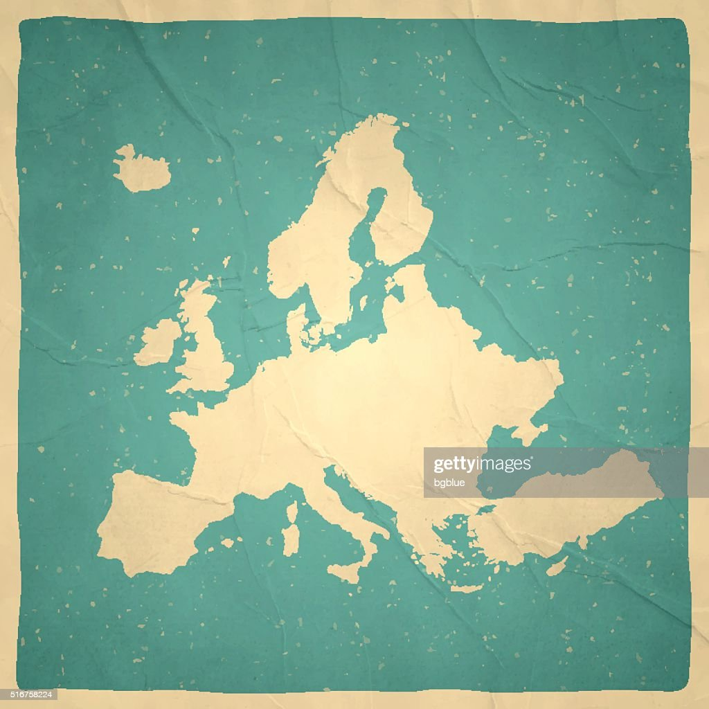 Europe Map on old paper - vintage texture : stock illustration