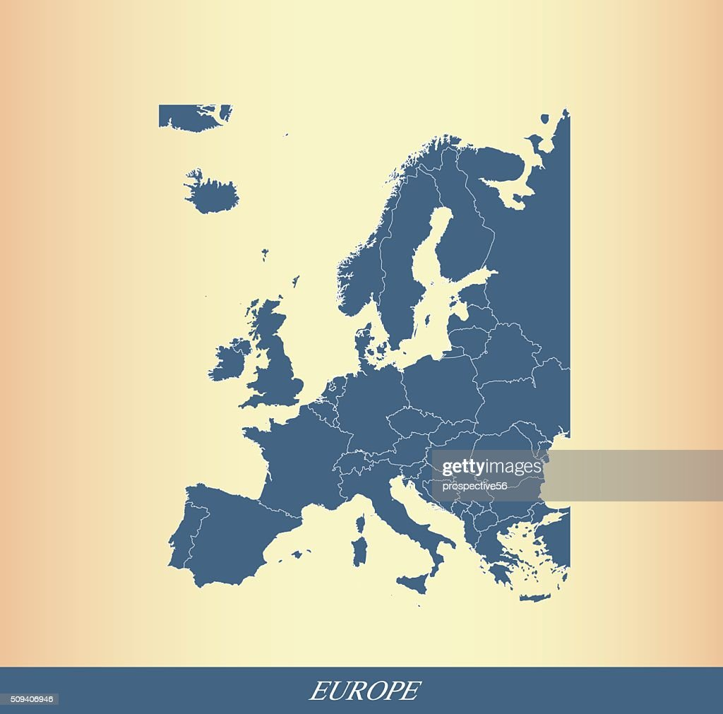 Europe map outline vector with countries borders