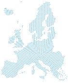 Europe map radial dot pattern