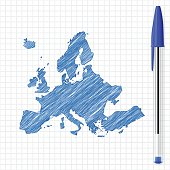 Europe map sketch on grid paper, blue pen