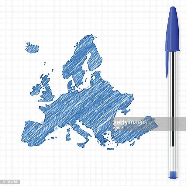 europe map sketch on grid paper, blue pen - ballpoint pen stock illustrations, clip art, cartoons, & icons
