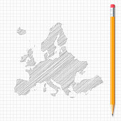 Europe map sketch with pencil on grid paper