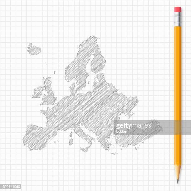 Europa Karte Skizze mit Bleistift auf Raster Papier