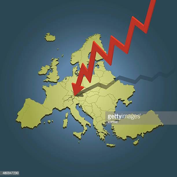 Europe carte avec flèche carte s'échouer sur fond foncé