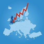 Europe map with arrow crashing on United Kingdom blue background