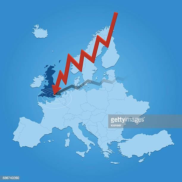 """illustrations, cliparts, dessins animés et icônes de l'europe carte avec flèche s """" échouer sur fond bleu royaume-uni - brexit"""