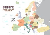 Europe map with colour and name