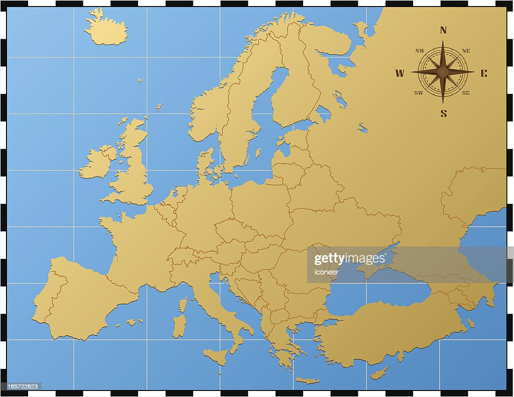 europe map with compass rose vector art | getty images
