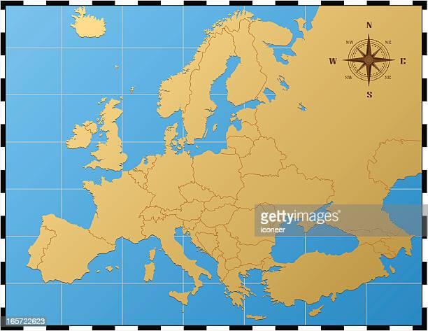 Europa Karte mit Kompass Rose
