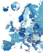 Europe map with flag pins