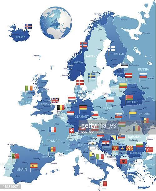 europa-karte mit fahne pins - europäische union stock-grafiken, -clipart, -cartoons und -symbole