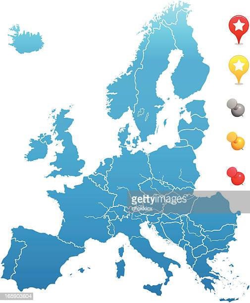 europe map with gps and pin icons - iberian peninsula stock illustrations, clip art, cartoons, & icons