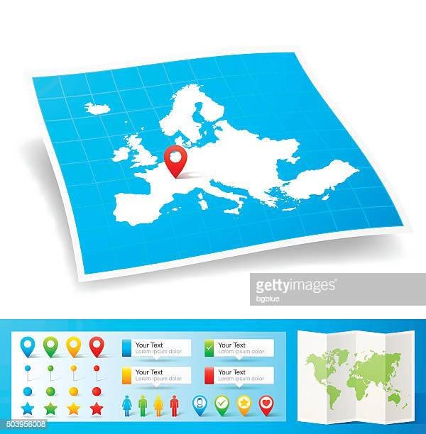 europe map with location pins isolated on white background - distance marker stock illustrations