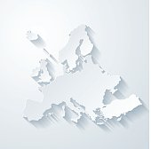 Europe map with paper cut effect on blank background