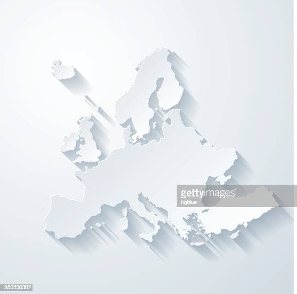 europe map with paper cut effect on blank background - map stock illustrations