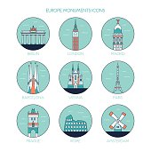 Europe monuments icons  skyline. Vector line illustration. Line style design