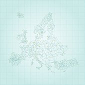 Europe network map on white background