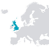 Europe outline map with Great britain coloured blue