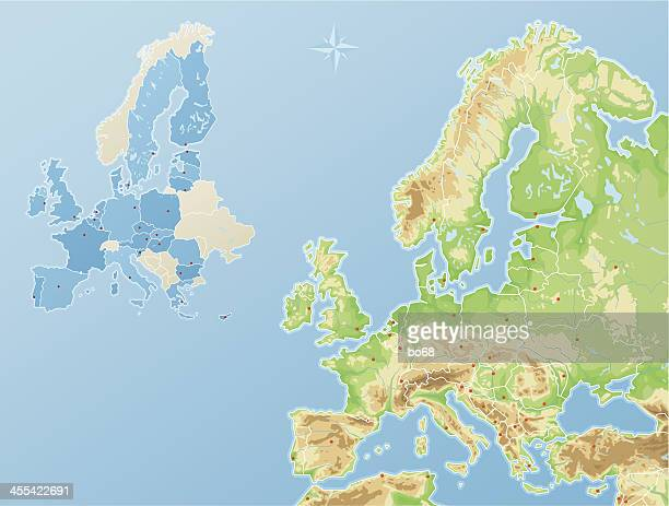 stockillustraties, clipart, cartoons en iconen met europe - physical map and states of the european union - polen