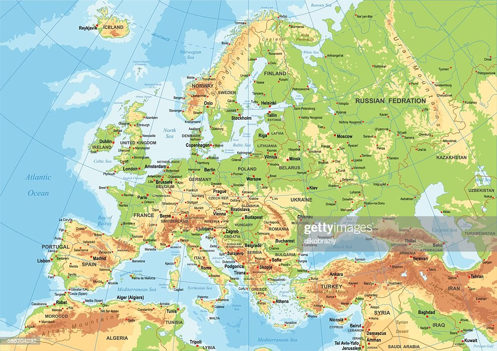Europe Physical Map Stock-Illustration - Getty Images