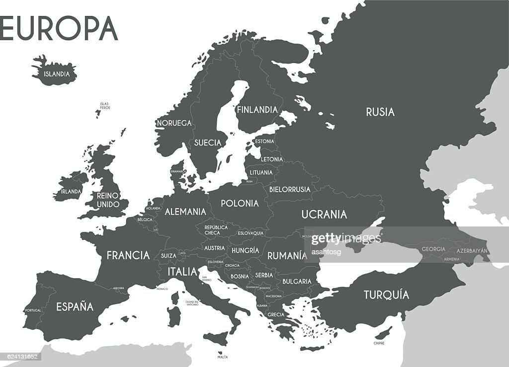 Europe Political map in black and white. Spanish names.