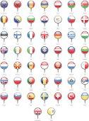 Europe - Round Flag Pins - Illustration