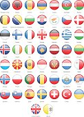 Europe - Round Flags - Illustration