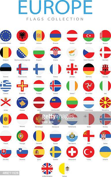 europe - rounded flags - illustration - all european flags stock illustrations