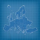Europe scribbled map on blue paper cardboard grid background
