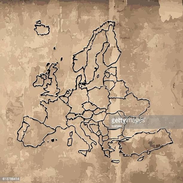 illustrazioni stock, clip art, cartoni animati e icone di tendenza di l'europa scarabocchiò la mappa su vecchi sfondo grunge di legno - obsoleto