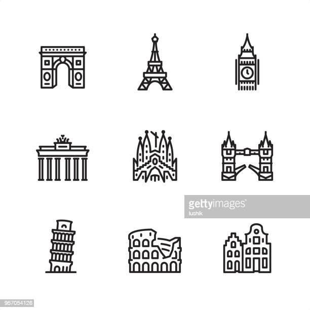 europe sights - pixel perfect outline icons - rome italy stock illustrations, clip art, cartoons, & icons