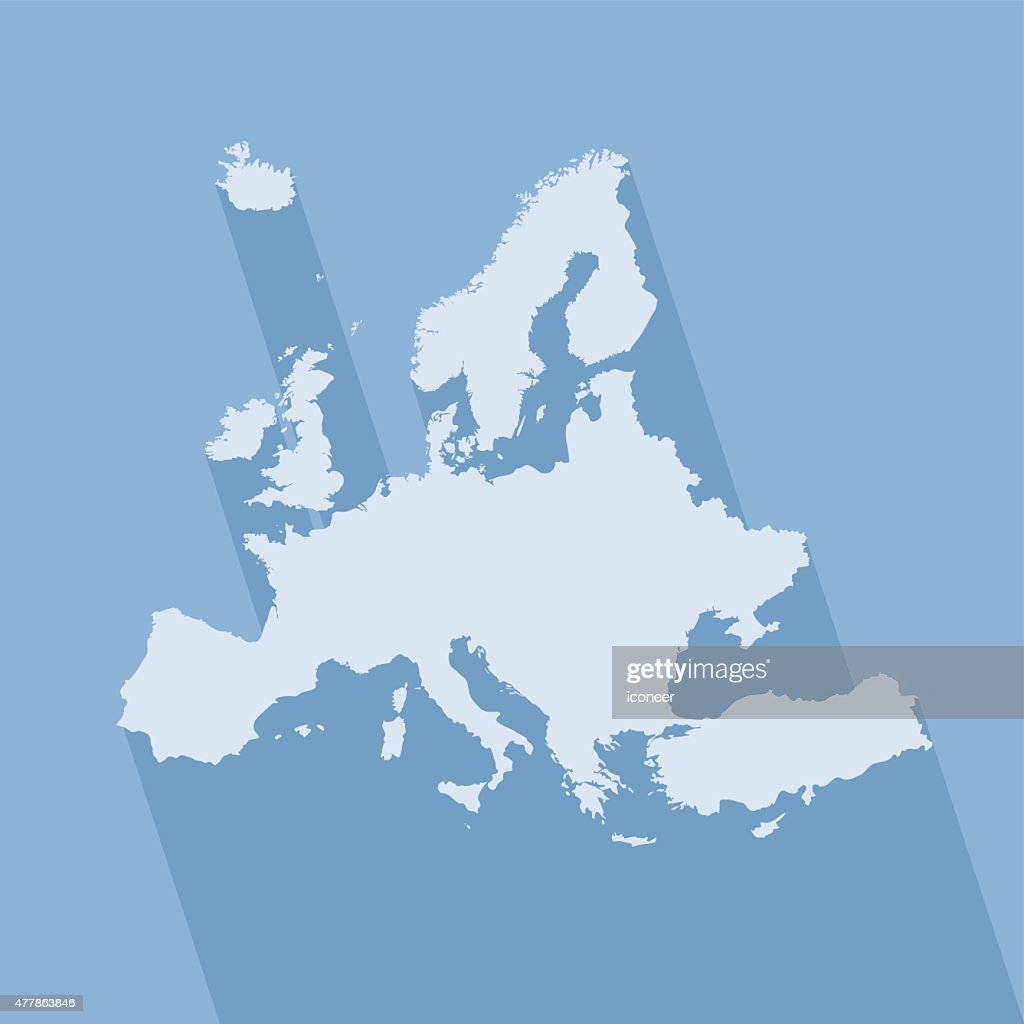 Europe simple blue map on blue background