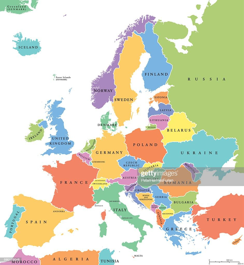 Europe single states political map