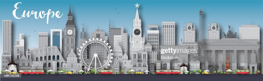 Europe skyline silhouette with different landmarks