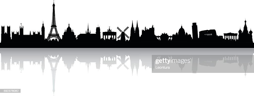 Europe Skyline (Buildings are Detailed, Complete and Moveable) : stock illustration