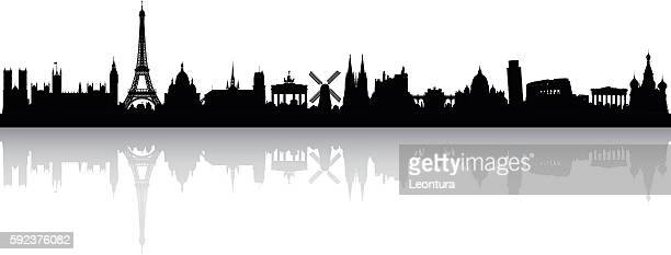 europe skyline (buildings are detailed, complete and moveable) - sehenswürdigkeit stock-grafiken, -clipart, -cartoons und -symbole