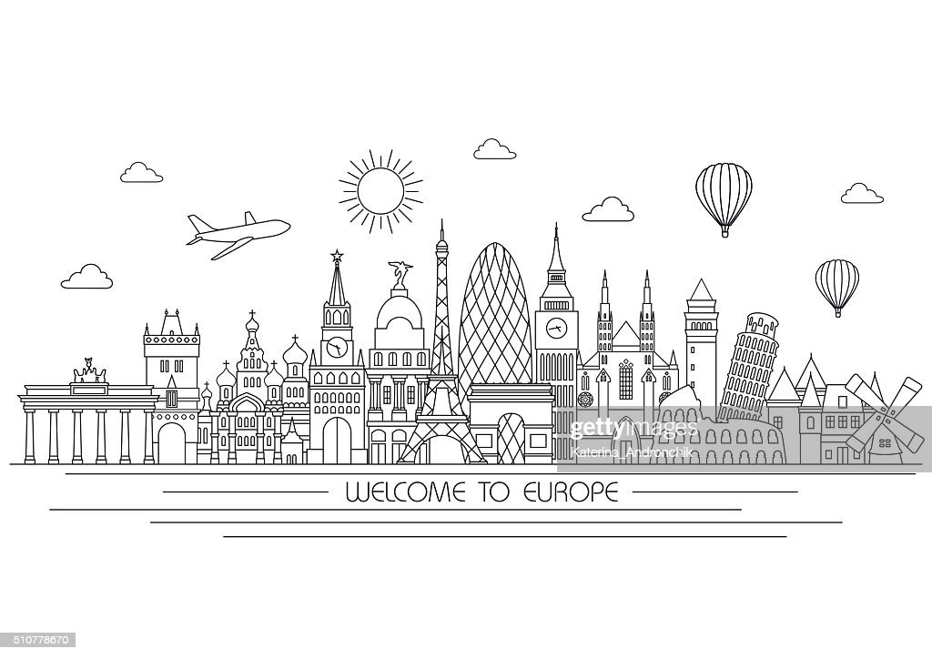 Europe skyline. Vector line illustration. Line style design
