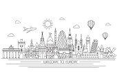 Europe skyline. Vector line illustration. Line style design
